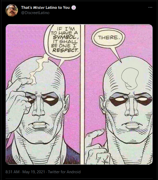 Dr Manhattan of Watchmen draws Kirk Van Houten's self-respect pictionary image on his head after saying he was drawing himself a symbol he could respect